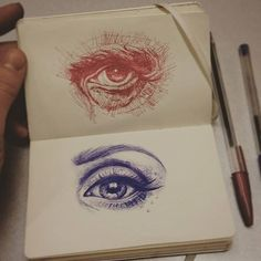 "6,908 Likes, 85 Comments - Hypnotizing Arts (@hypnotizing_arts) on Instagram: "" Great sketches of the eyes   Which one do you like more? Red or blue?  • By artist…"""