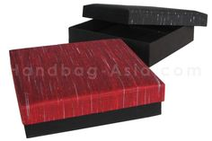 Large Thai Silk Gift Box In Red & Black With Removable Lid