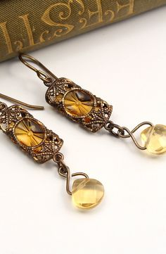 Beaded Stained Glass Windows in Amber - Czech Revival Vintage Glass Earrings