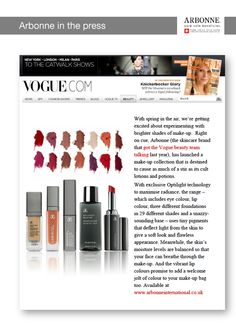 Another Great Review About Our Incomperable Arbonne Products In Vogue... Contact me on emma.jones.2991@gmail.com