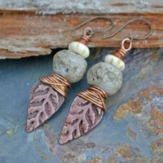 Handmade, Copper and rustic Lampwork Earrings | KristiBowmanDesign - Jewelry on ArtFire #judithbillig