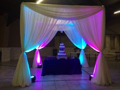 #quince #quinceanera #pavilion #drape #uplighting #cake #chandelier #boydsevents Craft Booth Displays, Wedding Events, Weddings, Quinceanera, Pavilion, Chandelier, Curtains, Cake, Crafts