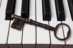 Skeleton Key On Piano Keys Photograph by Garry Gay - Skeleton Key On Piano Keys Fine Art Prints and Posters for Sale