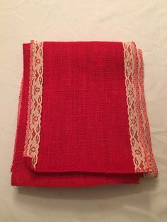 """7"""" Red Burlap Ribbon With Ivory Floral Lace - 6 Foot length"""