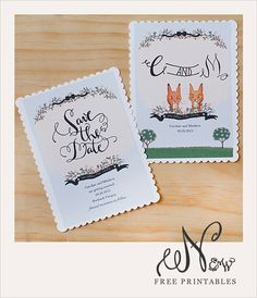 Free printable save the date cards from the Wedding Chicks. Wow, these are so darling! Love the illustrations.