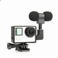 [ 20% OFF ] Go Pro Accessories Profesional Stereo Microphone With Adapter   Stand Frame Housing For Gopro Hero 3 3  4 Action Sport Camera
