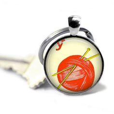 Ball of yarn keychain Knitting key chain by ConvertibleGirlShop, $10.00