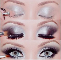 very pretty smokey eye, complete with false lashes of course :)