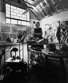 Artist Lee Krasner (1908-1984) in her studio. 1962. Photograph by Hans Namuth