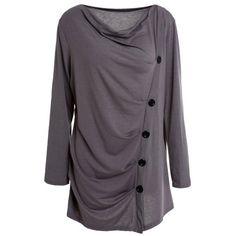 12.57$  Watch here - http://di823.justgood.pw/go.php?t=162359314 - Stylish Long Sleeve Cowl Neck Solid Color Draped Women's T-Shirt