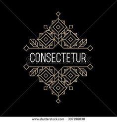 luxury antique art deco monochrome gold hipster minimal geometric vintage linear vector frame , border , label  for your logo, badge or crest for club, bar, cafe, restaurant, hotel, boutique