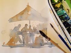 Amanda Brett Artist Sketching people in Watercolour