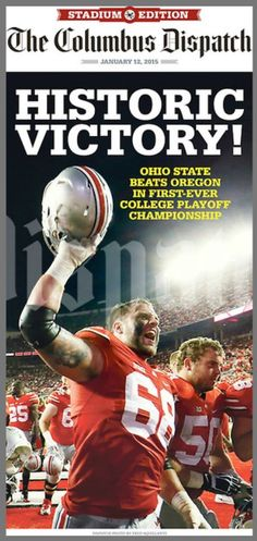 Ohio State's historic victory over Oregon to win 2015 National Championship! Ohio State was seeded in the four team playoff. Buckeyes Football, College Football Teams, Ohio State Football, Ohio State University, Ohio State Buckeyes, Football University, Football Program, American Football, Ohio Stadium