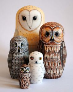 Owl nesting dolls,very clever, don't know if these fit into the traditional Matryoshka doll criteria but they're cute anyway! Owl Always Love You, Beautiful Owl, Owl Crafts, Matryoshka Doll, Wise Owl, Owl Art, Bird Feathers, Arts And Crafts, Crafty
