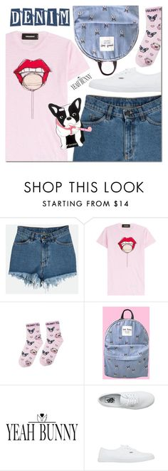"""""""Pink and denim"""" by mada-malureanu ❤ liked on Polyvore featuring Dsquared2, Yeah Bunny and Vans"""