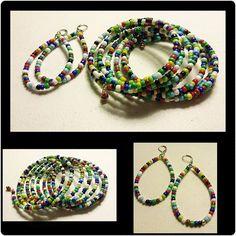 Taste The Rainbow Seed Delica Bead Slinky Color Bracelet Earring Set
