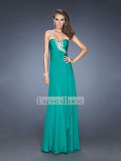 A-line Sweetheart Rhinestones Pleatings Chiffon Prom Dress PD11731