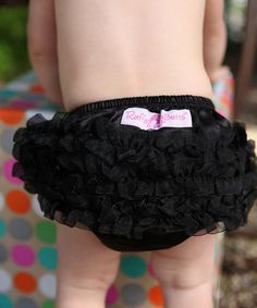Take a look at this Black Satin Ruffle Diaper Cover - Infant & Toddler by RuffleButts on #zulily today!