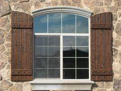 Vinina Brooks highlights popular designs of Marvelous Custom Shutters Exterior Rustic Exterior Shutters on Wisatakuliner. Wooden Shutters Exterior, Modern Shutters, Rustic Houses Exterior, Outdoor Shutters, Cedar Shutters, Green Shutters, Rustic Shutters, Rustic Windows, Exterior Windows