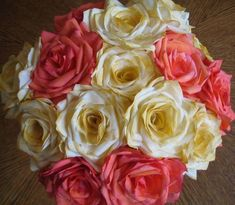 10 Brilliant Wedding Bouquets: While this bouquet looks like it's composed of roses, the roses were actually crafted from dyed coffee filters!  Source