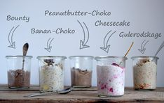 Overnight Oats – 5 forskellige variationer... Healthy Breakfast Snacks, Breakfast Recipes, Healthy Cooking, Healthy Recipes, Overnight Oatmeal, Breakfast On The Go, Smoothie Bowl, Smoothies, Chia Pudding