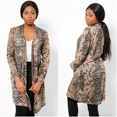 Womens Summer Lightweight Snake Print Cardigan Duster Jacket Size UK 8 10 12 NEW #MadeInItaly #Cardigan #Casual Duster Jacket, Occasion Wear, Summer Tops, Snake Print, Plus Size Outfits, Knitwear, Casual Outfits, Lady, Tricot