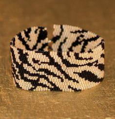 Tiger / Beadwoven Peyote Bracelet Cuff / Animal Print Tiger Stripes Jewelry / Africa Inspired / Black and Gold Beads / Beaded Cuff Bracelet Beaded Cuff Bracelet, Beaded Jewelry, Cuff Bracelets, Beads Pictures, Iron Beads, Beaded Animals, Weaving Patterns, Bead Weaving, Bracelets