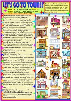 Find the places matching the definitions worksheet - Free ESL printable worksheets made by teachers English Fun, English Writing, English Study, English Language, Learn English, Teaching English Grammar, English Vocabulary, Esl Lessons, English Lessons