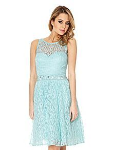 Quiz Pearl And Stone Lace Waist Dress Now £49.99