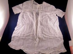 Antique vintage baby dress white cotton homemade embroidered lace trim