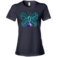 Thyroid Cancer Butterfly Women's Fashion T-Shirts #ThyroidCancer #ButterflyRibbonShirts #ThyroidCancerAwareness