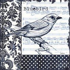 Damask Painting - Indigo Vintage Songbird 1 by Debbie DeWitt