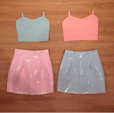 skirt pastel pink pastel blue crop tops tank top pvc