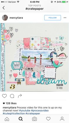 Crate paper cute girl layout