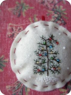 Tiny Christmas pine tree embroidery with seed pearl ornaments - inspiration
