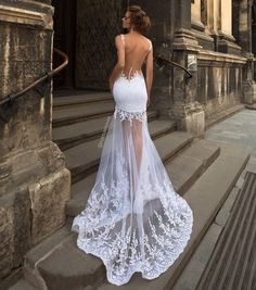 Spaghetti Straps V-neck Mermaid Wedding Dress Backless,Bridal Gowns. Wedding Dress Trends, Sexy Wedding Dresses, Bridal Dresses, Wedding Gowns, Prom Dresses, Wedding Lace, Backless Wedding, Bride Reception Dresses, Lace Mermaid Wedding Dress