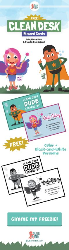 FREEBIE printable for classroom teachers and homeschooling! Clean Desk Rewards featuring The Desk Fairy and Clean Desk Dude—reward your students for being neat and tidy! #teacherspayteachers #education #teaching #glueandink