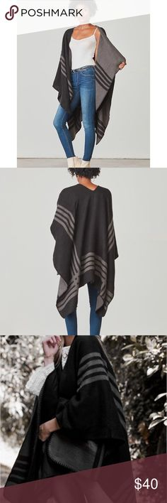 """Reversable Poncho BB Dakota Reversible poncho. Poncho dimensions are 59"""" x 50"""". Never been worn.  65% Acrylic, 35% Polyester. Bundle and save or offers welcome! BB Dakota Jackets & Coats Capes"""