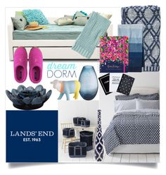 """""""Design Your Dream Dorm with Lands' End: Contest Entry"""" by sweta-gupta ❤ liked on Polyvore featuring interior, interiors, interior design, home, home decor, interior decorating, Lands' End, Lilly Pulitzer, Clover and landsend"""