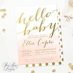Capri Hello Baby Shower Invitation Blush Pink by SeaPaperDesigns