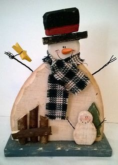 Set of 2 wooden snowman figures/decorations