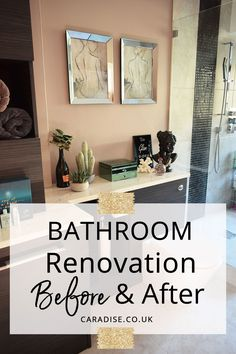 Bathroom Renovation: Before and After - See the makeover and interior design of our luxury spa like, dream bathroom with a double sink vanity, marble countertops, storage cabinets and modern mirror. Get ideas and inspiration for your bathroom remodel, layout and decoration via caradise.co.uk #bathroom #interiordesign #ideasandinspiration