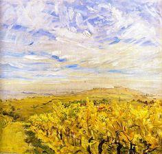 Début de l automne dans le Palatinat - Vignobles près Neukastel, huile sur toile de Max Slevogt (1868-1932, Germany)
