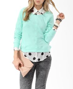 French Terry Pullover | FOREVER21 - 2014082472. The polka dot top + shirt could work for pastel goth.