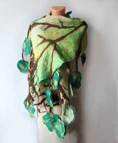 Nuno Felted scarf green leaves