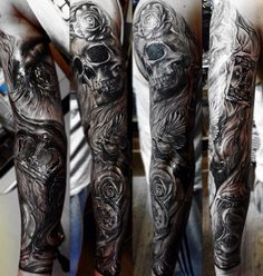 best full sleeve tattoos ever Black Sleeve Tattoo, Skull Sleeve Tattoos, Full Sleeve Tattoo Design, Best Sleeve Tattoos, Body Art Tattoos, Tattoo Drawings, Badass Tattoos, Tattoos For Guys, Tattoo Designer Online