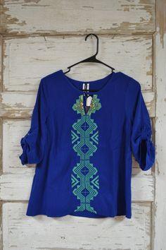 Royal Blue 3/4 Sleeve Top w/ Green Aztec Embroidery - Cajun Bling II