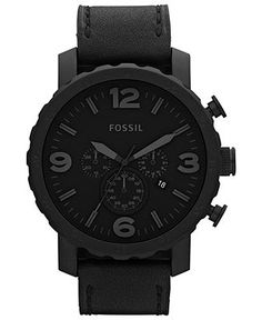 Fossil Men's Chronograph Nate Black Leather Strap Watch 50mm JR1354 - Fossil - Jewelry & Watches - Macy's