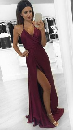Modest Prom Dresses,Sexy New Prom Dress,A-Line Burgundy Prom Dress slit Formal Occasion Dresses