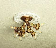 DIY Ceiling Light Fixture Made With Branched Out Socket Splitters